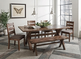 Alston Rustic Nutmeg Dining Table- 4 chairs