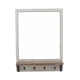 WOOD WALL MIRROR WITH SHELF &HOOKS IVORY, WB