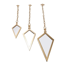 S/3 METAL SPEAR POINT MIRRORSON CHAINS, GOLD