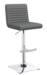 Adjustable Height Bar Stool Grey and Chrome