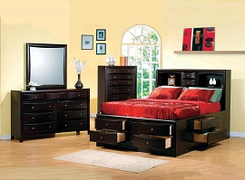 Queen Size Bookcase Bed with Storage Drawers Open Shelves