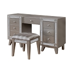 Leighton Vanity Desk And Stool Metallic Mercury