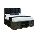 Phoenix Queen Upholstered Storage Bed Coco Grey And Black