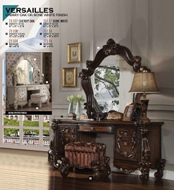 Versailles Vanity Desk- Cherry Oak or Bone White