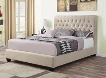 Chloe Tufted Upholstered Bed Oatmeal