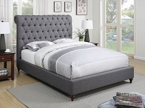 Devon Button Tufted Upholstered Bed Grey