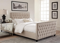 Saratoga Oatmeal Upholstered Bed