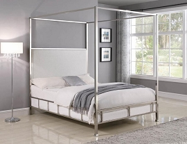 Claire Upholstered Full Canopy Bed Ivory And Chrome
