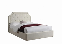 Hermosa Beige Upholstered Bed With Hydraulic Lift Storage-