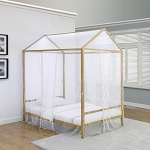 Altadena Twin Canopy Bed With LED Lighting Matte Gold