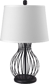 Dark Finished Bird Cage Style Table Desk Lamp
