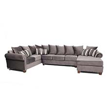 EZ Grey Velvet Play Sectional with Chaise