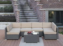 8 Pcs Brown Outdoor Sectional