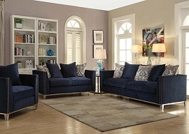 PHAEDRA - Blue Fabric Sofa Set w/ 5 Pillows