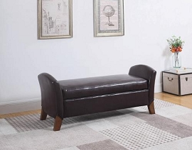 Brown Leatherette Storage Bench
