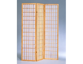 3 Part Natural Finish Panel Shoji Screen Room Divider