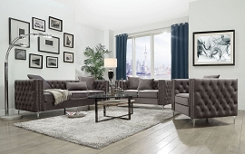 GILLIAN ll - Dark Gray Velvet Sofa Set w/ 3 Pillows