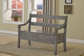 Wooden Bench with Storage - Grey