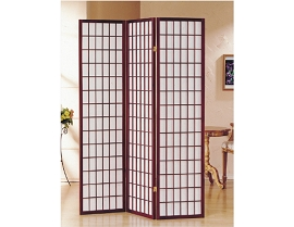 3 Part Cherry Finish Panel Shoji Screen Room Divider