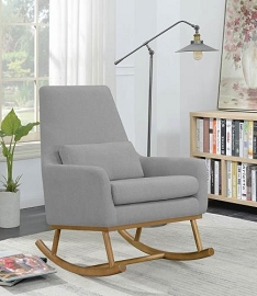 Upholstered Grey Rocking Chair