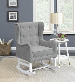 Upholstered Demi-Wing Rocking Chair