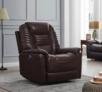 Upholstered Power Recliner With Power Headrest Brown