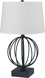 Round Metal Painted Bird Cage Style Table Desk Lamp