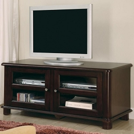 Transitional Media Console with Doors and Shelves