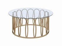 Hemet Round Coffee Table Chocolate Chrome And Clear