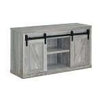 48-Inch 3-Shelf Sliding Doors TV Console Grey Driftwood