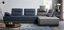 Divani Casa Glendale - Modern Blue & Grey Fabric Sectional Sofa