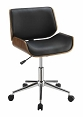 Black Leatherette Office Chair with walnut Finish