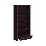 Skylar 5-Shelf Bookcase With Storage Drawer Cappuccino