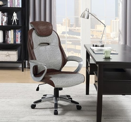 Brown /Grey Leatherette Computer Chair