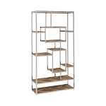 Felsberg 10-Shelf Bookcase Rustic Tobacco Herringbone And Nickel