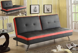 Red Trim on Black Faux Leather Adjustable Futon Sofa