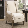Accent Chair with Wing Back Design and Map Print
