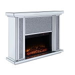 ACME Nowles Fireplace - 90457 - Mirrored & Faux Stones