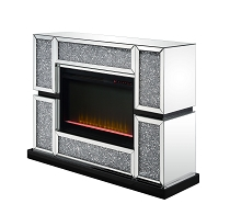 ACME Noralie Fireplace - 90660 - Glam - LED Fireplace, Mirror, Glass, Faux Diamonds, Composite Wood - Mirrored and Faux Diamonds