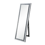 ACME Noralie Floor Mirror (LED) - 97713 - Glam - Mirror, Glass, MDF, Faux Diamonds (Acrylic), LED - Mirrored and Faux Diamonds