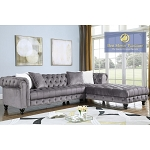 Navy Blue or Grey Velour 2 Pcs Sectional