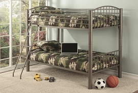 Heavy Duty Silver Twin Convertible Bunk Bed