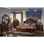 Walnut Wood Bed Frame featuring Marble Tops