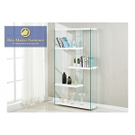 White Lacquer w/ Clear Glass Book Shelf