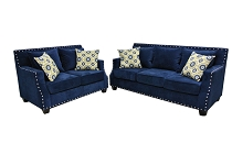 Paris Blue Posh Sofa Set