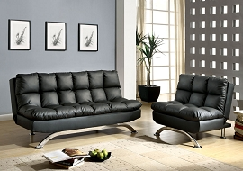 Black Leatherette Contemporary Sofa Bed