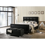 MENKAR Black Leather Bed Frame
