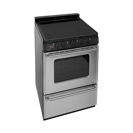 Premier 24 in. 3.0 cu. ft. Freestanding Smooth Top Electric Range in Stainless Steel
