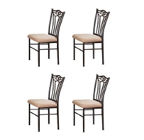 Poundex PDEX-F1010 4 Black Metal Dining Chairs