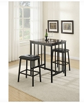 3-Pcs Black Marble Counter Height Set